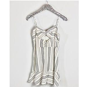 Dolce Vita Cream Linen Striped Mini Dress Flare